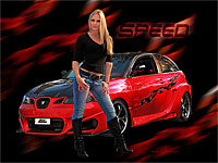 Miss Tuning Schweiz Wallpaper mit Nadia Caligiuri und Tuning Car