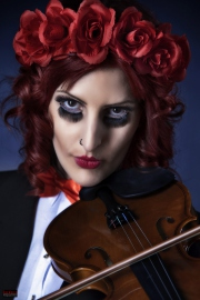 Puppet Girl Portrait - Violin and red Roses