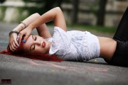 Beauty lying on Street - Street Photography